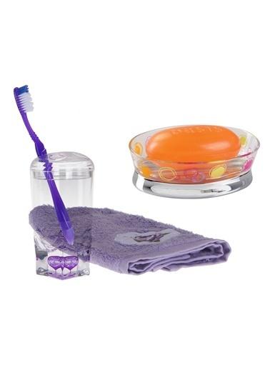 Bosphorus 2'Li Kapaklı Kalp Desenli Diş Fırçalık Ve Halkalı Desenli Oval Sabunluklu Banyo Seti Renkli